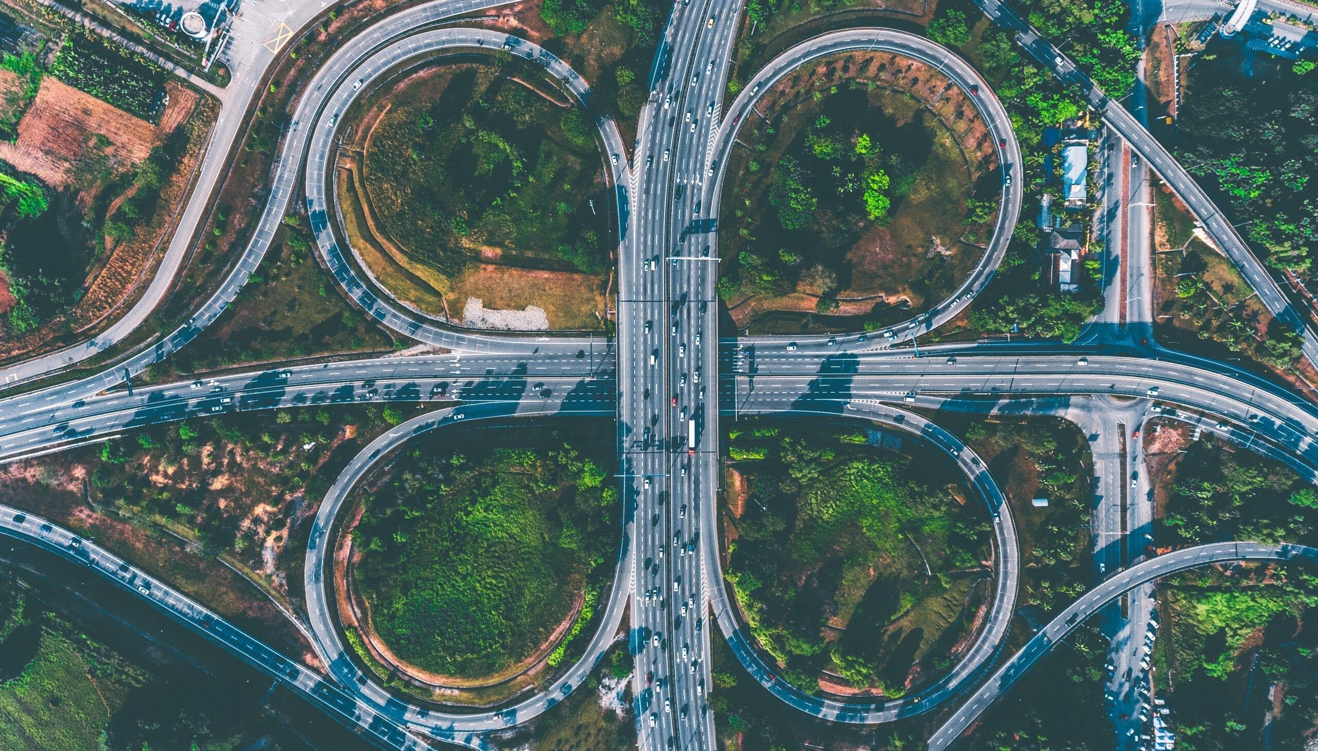bird's eye view of freeway